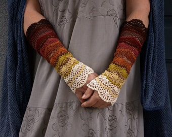 Gypsy Autumn - crocheted open work lacy romantic multicolored wrist warmers mittens cuffs hippie boho style