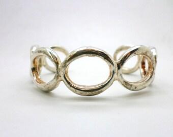 SALE  Vintage Sterling Silver Cuff Bracelet Conjoined Ovals