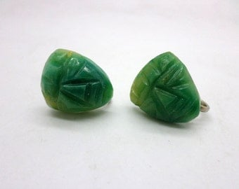 Vintage Carved Faces Masks Green Mexican Jade Screw Back Earrings
