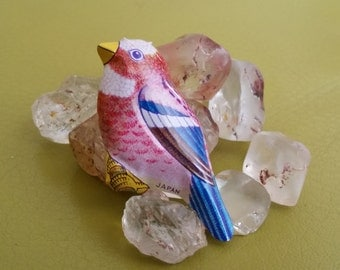Vintage recycled tin lithograph Finch Bird Brooch