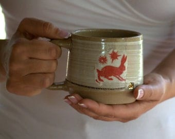 Unique coffee mug -  Rabbit mug - Wheel thrown cup - Woodland mug - Pottery mug - White pottery - Housewarming gift - ready to ship