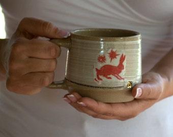 rabbit  mug wheel thrown stoneware unique coffee mug woodland critters