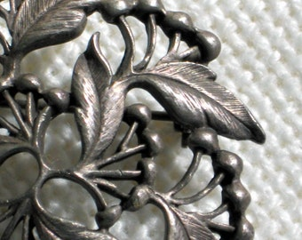 Vintage Brooch Pin 30s Art Deco Jewelry Pewter Tone Cherries and Leaves