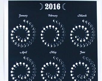 2016 MOON CALENDAR in Night Sky - Silkscreen Print