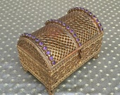 Vintage Purple Jeweled Filigree Ormolu Treasure Chest Trinket Box