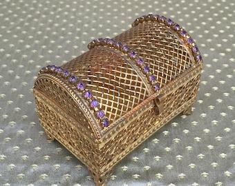 Vintage Purple Jeweled Filigree Ormolu Treasure Chest Trinket Box