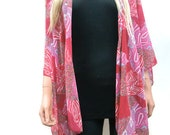 Kimono cardigan Red patchwork print- Shades of red-Chiffon ruana-Layering piece-Many colors-End of summer sale