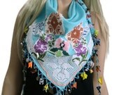 Turquoise gypsy Scarf-Boho Art- blue cotton scarf-sea blue  bohemian scarf  -Textile Art