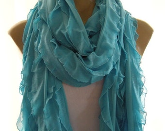 Shimmery turquoise blue extra long ruffle scarf  Tube scarf