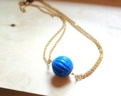 Royal Blue Bead Necklace - Minimalist Necklace - Fall Necklace