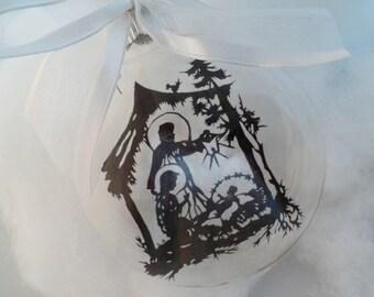 Christmas Ornament Manger Scene Glass
