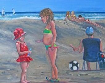 large children beach original oil painting,figurative art,large impressionism art,ocean art,24 x 36 painting,children playing art,home decor