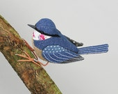 Nuthatch Sculpture - FABRIC BIRD -  Made to Order