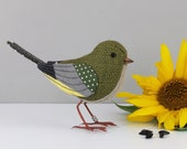 FABRIC BIRD - Greenfinch Sculpture - Made to Order