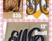 """3 initials monogram door hanger 13""""  Vine script small"""