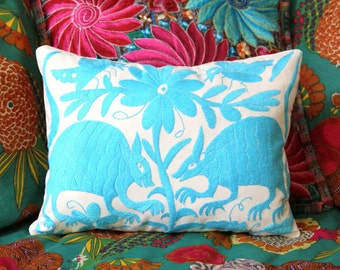 Turquoise Folk Art Pillow Sham-Otomi Embroidery Ready to ship.