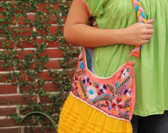 Peach Coral and Yellow  hand  Embroidered Huipil Boho Travel tote