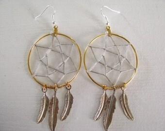 Dreamcatcher Earrings Gold Hoops with Silver Feathers Bohemian Earrings