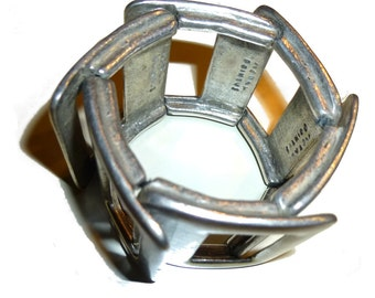 Modernist Metal Pointus Wide Bracelet. Made in Paris by Bernard Bouhnik. Circa early 1990s.