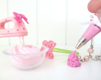 "The Bakers Necklace ""Let's Make Cupcake "" meringue kisses charm  with pink Pastry Bag charm-  fake cupcake frosting charm"