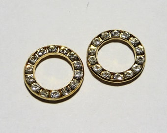 6 Vintage Swarovski Crystal 15 mm Circle Connectors on Etsy by APURPLEPALM