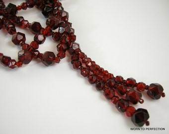 Ruby Red Art Deco Flapper Beaded Necklace
