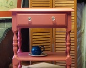 RESERVED / Bedside Nightstand in Sea Coral Vintage Poppy Cottage Painted Furniture Jenny Lind Table