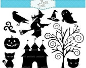 ON SALE Halloween clip art , Black halloween clip art ,Digital clip art, Silhouettte witch,Holiday Halloween clip art, black cat clip art
