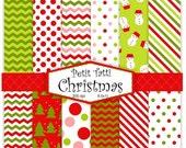 ON SALE Christmas Digital paper, christmas digital background, red, green,chevron, stripe, paper background