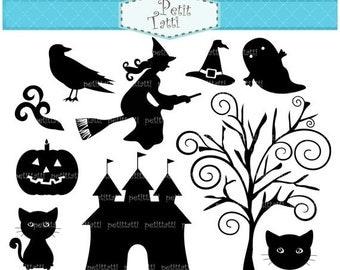 ON SALE Halloween Clip Art , Black Halloween Clip Art ,Silhouette Halloween Clip Art,Silhouettte witch,Holiday Halloween, black cat clip art