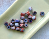 Blue and Red Large Hole African Trade Beads 60% off, qty 11