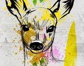 Deer Poster / Signed by Artist / Fawn / Print / Kid Art / Gift / Pop Art / Animal Art / Abstract / Cute / Illustration / Zoo / New Art