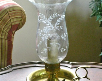 Vintage Brass Chamberstick Electric Lamp with Etched Glass Hurricane Shade Globe, Candlestick Accent Light