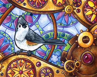 Clockwork Titmouse | Bird Art | Animal Art | Steampunk Art | 8x10