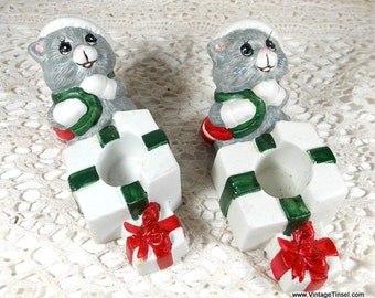 Pair Ceramic Candle Holders, Cats with Santa Claus Hats,  Holiday Decor, Christmas Decoration  (813-15)