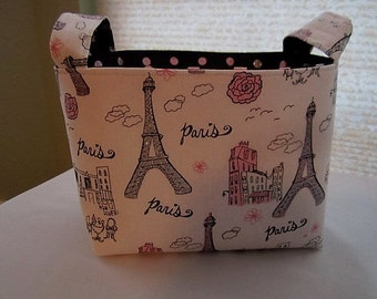 Fabric Organizer Basket Storage Bin Container  - Paris in Love