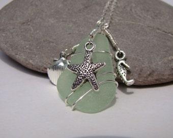 Seafoam Sea Glass Pendant Necklace - Starfish, Sea Shell, Seahorse - Sterling Silver Chain
