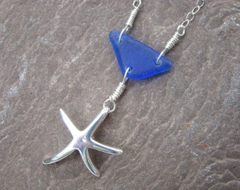 Sterling Silver Starfish Necklace - Cobalt Sea Glass Pendant - Nautical Jewelry