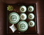 Assorted Colonial Plates - 7 pieces - Camping Theme