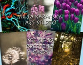 SALE Set of 10 Photo and Art Greeting Cards - Select Any Image from my Store - Landscape Cards - Flower Cards