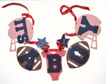 Football baby shower decorations red stripes and blue it's a boy banner by ParkersPrints on Etsy NEW Larger Size