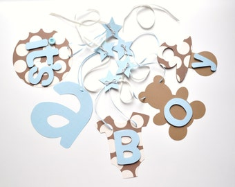 NEW Larger Size Blue and brown baby shower decorations polka dots it's a boy banner by ParkersPrints on Etsy