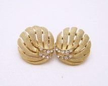 Vintage Trifari Rhinestone Button Earrings Mid Century Jewelry
