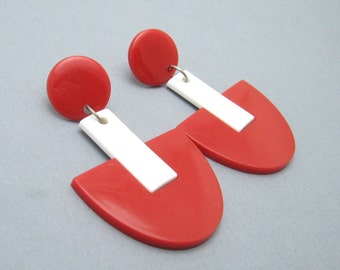 Art Deco Style Red Plastic Long Earrings Jewelry