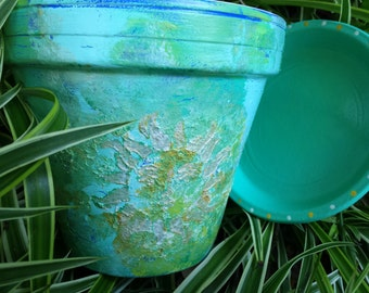 Painted Flower Pot - Rustic Sun Face - Large Planter