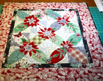 MarveLes CHRISTMAS a'PEEL Floral  Collage Quilted Red Green Black Table Topper Runner Wall Hanging Orange Blue Turquoise Orange Peel