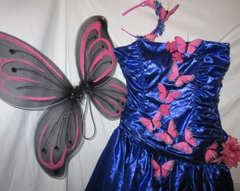 Halloween Costume fantasy fairy pink butterfly dress wings womens size 6 one of a kind recycled adult costume flower fairy