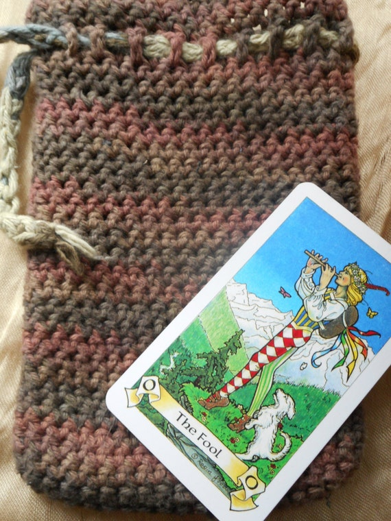 Tarot Bags Tarot Cards Cloths More: Earth Tones Crocheted Drawstring Tarot Bag