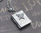 Silver Book Locket Necklace - Enchanted Butterfly Locket Jewelry - Photo Locket - TheEnchantedLocket - Wedding Christmas Bridesmaid Gift