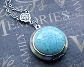 Locket Necklace Silver Locket Turquoise Locket Lockets For Women Photo Locket Wedding Lockets Locket Jewelry Round Locket TheEnchantedLocket